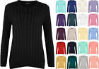 New Plus Size Womens Cable Knitted Long Sleeve Top Ladies Jumper Sweater 16-22
