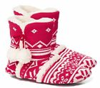 NWT VICTORIA'S SECRET WOMEN'S RED KISS OF CASHMERE SHERPA SLIPPER BOOTS MEDIUM