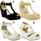 NEW WOMENS LADIES LOW MID HEEL BLOCK WEDGE PLATFORM OPEN TOE SANDALS SHOES SIZE