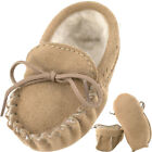 Lambland Sheepskin Suede Moccasin Slippers for Babies 0 - 24 Months - Beige
