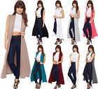 New Womens Long Maxi Open Sleeveless Top Jacket Collar Plain Ladies Cardigan