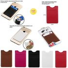 Genuine Leather Adhesive Pouch Sticker Credit Card Holder Sleeve For Smart Phone