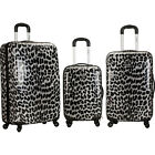 Rockland Luggage Snow Leopard 3 Pc Polycarbonate Luggage Set NEW