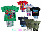Boys Short Sleeve Printed T-shirt with Check Shorts Kids Matching Summer Outfit
