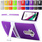New Multicolor Soft Rubber TPU Cover With PC Frame Stand Case For LG G2 G3 G4
