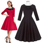 Schwarz rot Polka Dots Cocktailkleid Retro 50er A Linie Party Stretch Kleid S XL