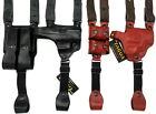 TAGUA RH Leather BLACK BROWN Shoulder Holster w/ Double Mag - Choose Gun & Color