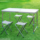 Aluminum Portable Adjustable Folding Table + 4pcs Stool Set Picnic Camping Party