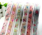"3Y-20Y 1"" Flower Printed Polyester Grosgrain Ribbon DIY Party Decor L2286-2291"