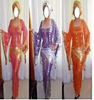 Egyptian Belly Dance Baladi Saidi Galabeya Dancing Dress Costume+2 SCARVES 560 N