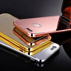 Luxury Aluminum Metal Bumper Mirror case+Tempered Glass for iPhone 5s 6 6s Plus