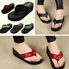 WOMENS GIRLS SUMMER BEACH FLIP FLOPS TOE BOW SEQUIN FLATFORM WEDGE SANDALS LA