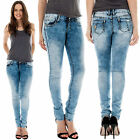 New Ladies Straight Leg Washed Out Stretchy Skinny Denim Jeans Size 6 8 10 12 14