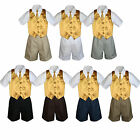 4pc Set Boy Toddler Formal Gold Vest and Necktie Black Khaki Shorts S-4T