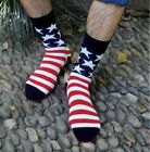 Men's Old Glory USA Flag American Stripes and Stars Cotton Mid-calf Length Socks