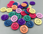 Wooden Buttons Hollow Threading can design Sewing Scrapbooking Craft 18mm