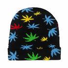 CANNABIS GANJA BEANIE HAT MENS ADULTS ROLL UP STRETCH WEED LEAF WINTER HAT