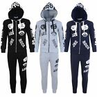 Kids JRE Rock Print Tracksuit Set Boys Girls Jogging Bottoms Hooded Top 3-14 Y
