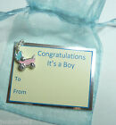 New Baby It's a Girl It's a Boy Congratulations Clip-on Pram Charm Gift Card