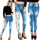 New Womens Floral Lace Panel Side Button Low Rise Faded Denim Jeans 6 8 10 12 14
