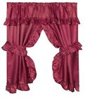 Ruffled Window Curtain with Valance and Tie-Backs, Burgundy