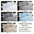 1200TC Cotton Rich Sheet Set Single Double Queen King Sizes Bed Colour Choices