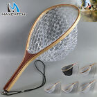 Fly Fishing Landing Net Rubber/Mesh Trout Catch and Release Net & Wooden Handle
