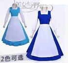 NEW Adult Beauty and the Beast Belle Blue Maid Dress Cosplay Costume 2 color