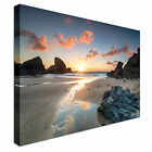 Sunset Porthcothan Bay Cornwall Canvas Wall Art prints high quality