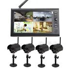 "7"" LCD Monitor Digital Wireless Video Audio DVR Recorder 4CH CCTV Camera System"