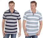 Mens Stripe Polo Shirt T-Shirt Top Short Sleeve Yarn Dyed Casual Size S-XXL New