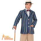 Adult Old Time Boater Jacket Mens 1920s Gatsby Victorian Fancy Dress Outfit New