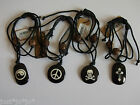 Multi Strand Black Corded Bracelet with Charm Skull Cross Peace Yin  (442)
