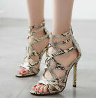Sexy Snakeskin Print Cut Out Gladiator Sandals High Heels Strappy Women Shoes