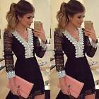 Women Casual Long Sleeve V Neck Evening Party Cocktail Short Mini Lace Dress BF9