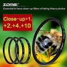 ZOMEI 52/55/58/62/67/72/77mm Close-up +1+2+4+10 Lens Filter Kit For Canon Camera