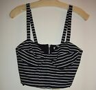 Ronny Kobo Ronny Bustier Stripes Crop Top Navy Blue White...
