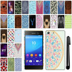 For Sony Xperia M5 PATTERN HARD Protector Back Case Phone Cover + Pen