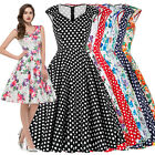 Women's Retro Vintage Style 1950's Floral Sleeveless Evening Party Swing Dress