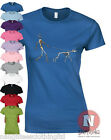 Naughtees Clothing Skeleton dog walker x-ray ladies fitted t-shirt canine doggy