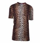 MOSCHINO Langes T-Shirt mit Leopard Animal Print Baumwolle 04444