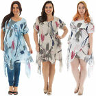 New Womens Italian Quirky Lagenlook Abstract Print Tunic Dress One Size 12 18