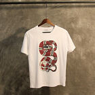 Floral Serpent Casual Cotton T-Shirt White Regular Fit Snake Short Sleeve Tops