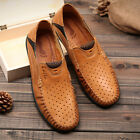 Men's Summer Leather Casual Slip on Loafer Driving Boat Shoes Penny Flats 38-46