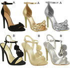 Womens Ladies  Party Prom Summer Sandals High Heel Stilettos Ankle Strap Size