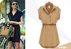 new Vogue Women's Cap Sleeve Stretch Chiffon Casual OL Belt Shirt Mini Dress XXL