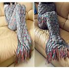 1X Muticolor Blankets&Throws Crocheted Mermaid Tail Knitting With Sparket Scales