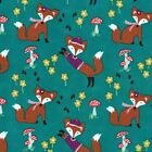 Michael Miller ~ Fox Woods ~ Lil' Foxy teal ~ foxes woodland ~ craft dressmaking