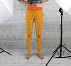 Orange Print Design Womens Spandex Leggings Gym Yoga Fashion Fitness Made In Uk