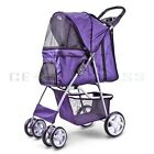 Pet Stroller Dog Cat Carrier Cage 4 Wheels Jogging Travel Easy Walk Foldable